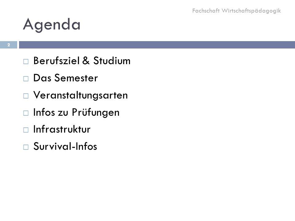 Agenda  Berufsziel & Studium  Das Semester  Veranstaltungsarten  Infos zu Prüfungen  Infrastruktur  Survival-Infos Fachschaft Wirtschaftspädagogik 2