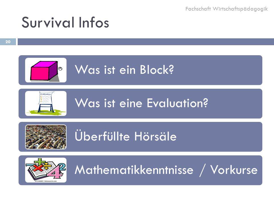 Survival Infos 20 Was ist ein Block.Was ist eine Evaluation.