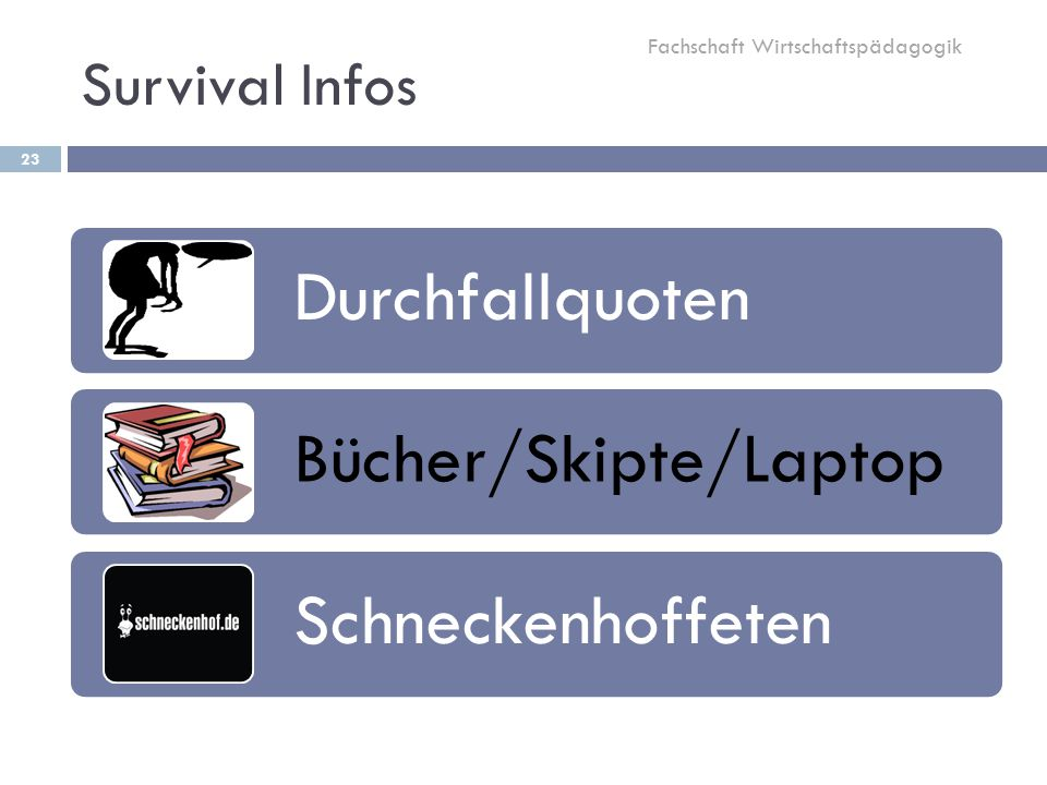 Survival Infos 23 Durchfallquoten Bücher/Skipte/Laptop Schneckenhoffeten Fachschaft Wirtschaftspädagogik