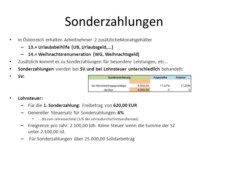 Sonderzahlungen In Österreich erhalten Arbeitnehmer 2 zusätzlicheMonatsgehälter – 13.= Urlaubsbeihilfe (UB, Urlaubsgeld,...) – 14.= Weihnachtsrenumera