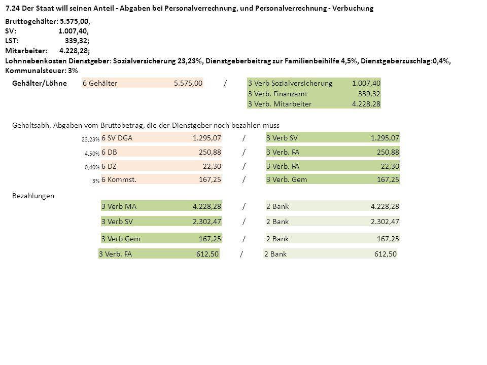 7.24 Der Staat will seinen Anteil - Abgaben bei Personalverrechnung, und Personalverrechnung - Verbuchung Bruttogehälter: 5.575,00, SV: 1.007,40, LST: