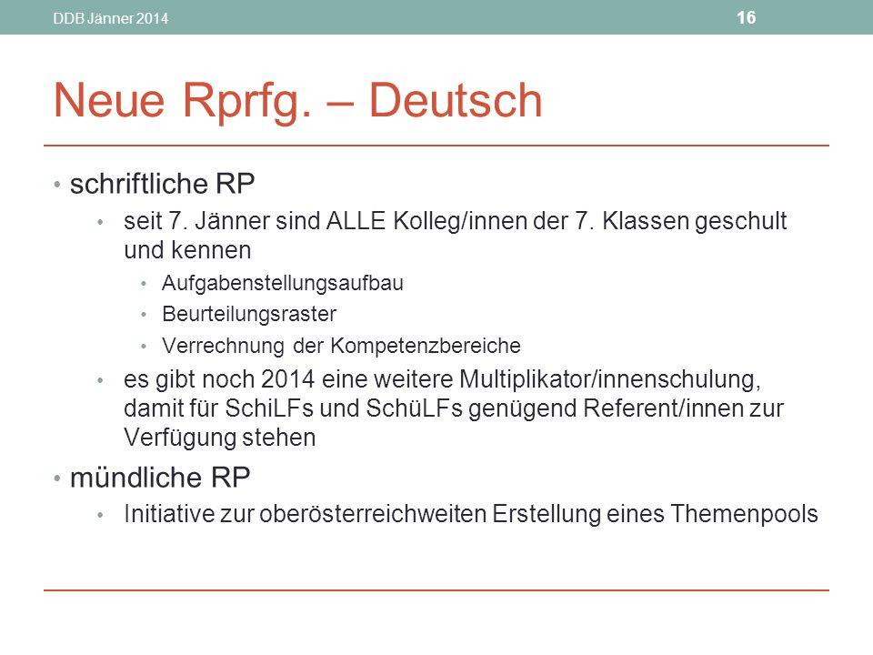 DDB Jänner 2014 16 Neue Rprfg.– Deutsch schriftliche RP seit 7.