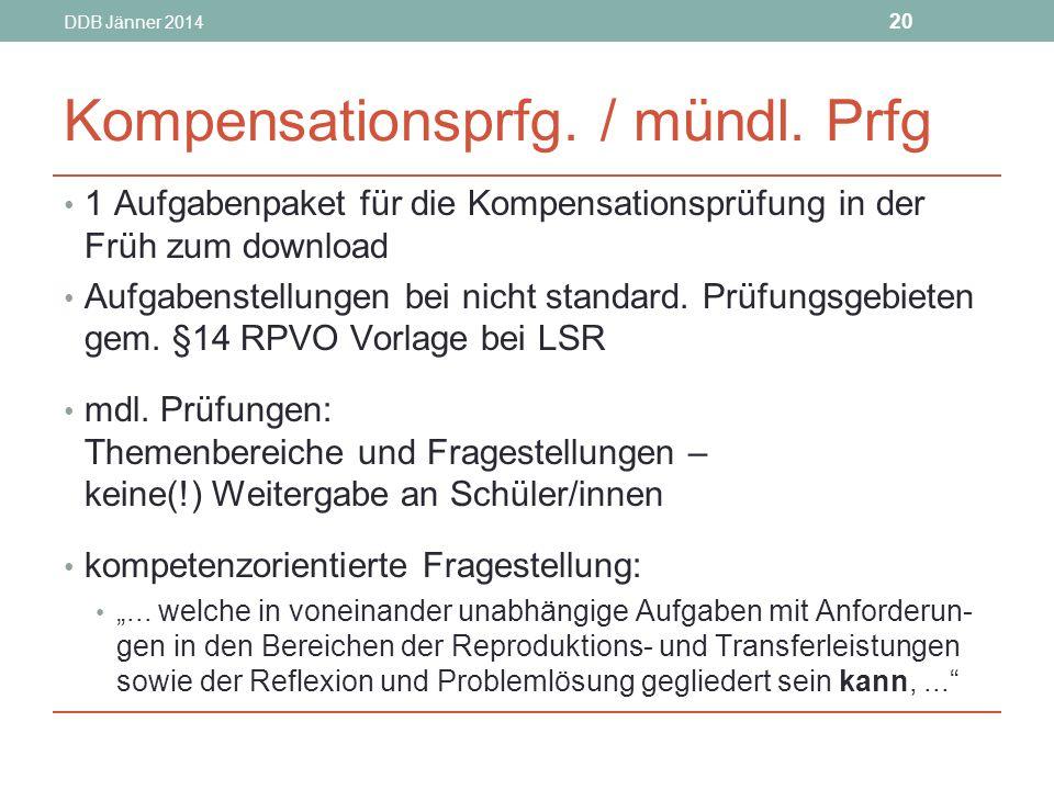 DDB Jänner 2014 20 Kompensationsprfg./ mündl.