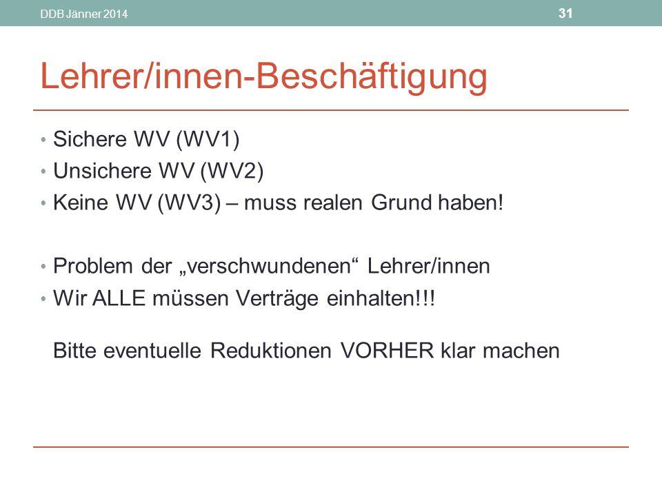 DDB Jänner 2014 31 Lehrer/innen-Beschäftigung Sichere WV (WV1) Unsichere WV (WV2) Keine WV (WV3) – muss realen Grund haben.