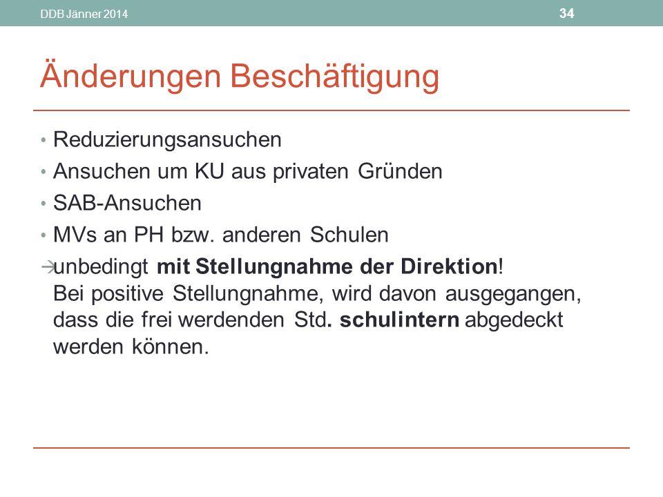 DDB Jänner 2014 34 Änderungen Beschäftigung Reduzierungsansuchen Ansuchen um KU aus privaten Gründen SAB-Ansuchen MVs an PH bzw.