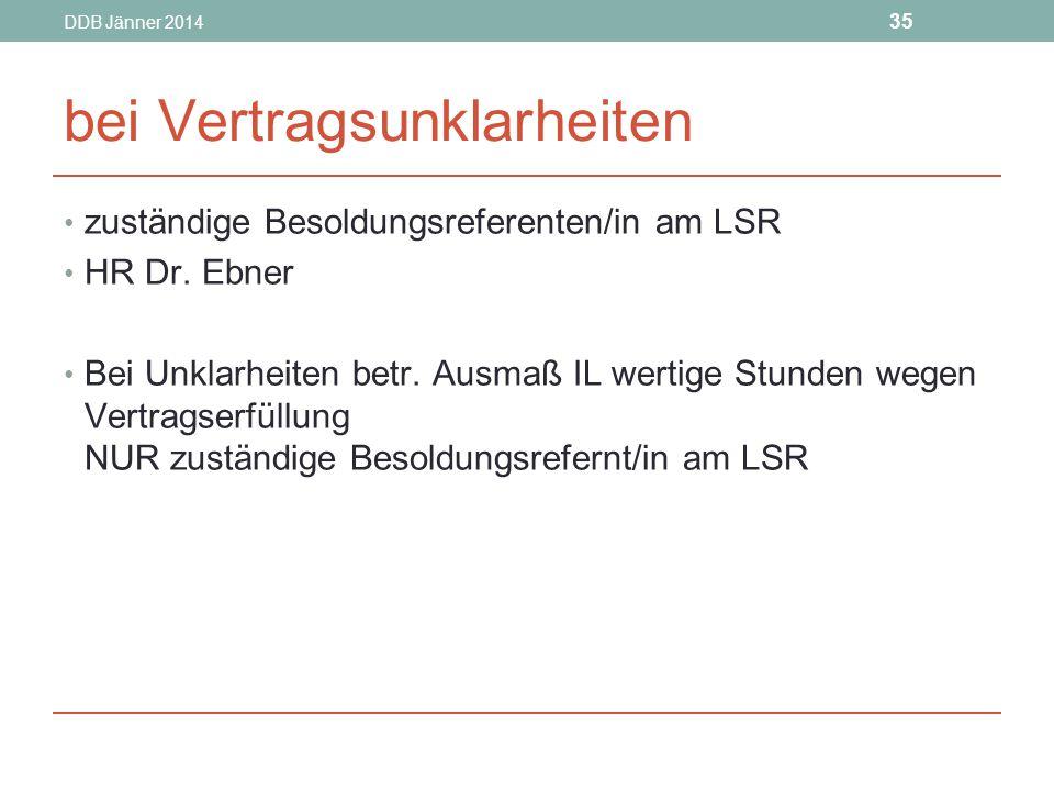 DDB Jänner 2014 35 bei Vertragsunklarheiten zuständige Besoldungsreferenten/in am LSR HR Dr.