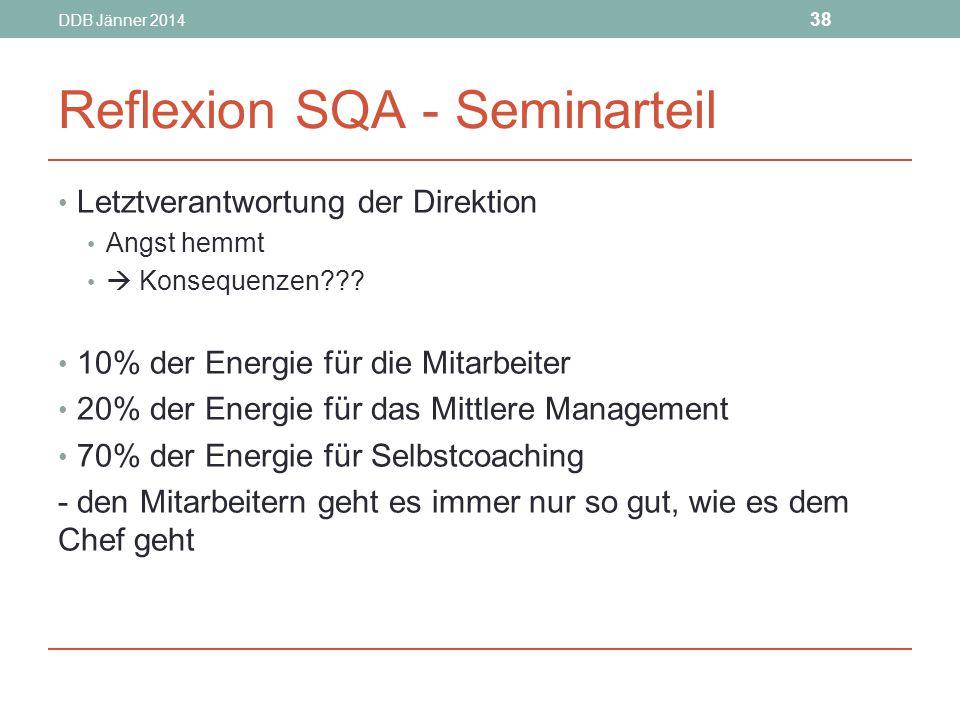 DDB Jänner 2014 38 Reflexion SQA - Seminarteil Letztverantwortung der Direktion Angst hemmt  Konsequenzen??.