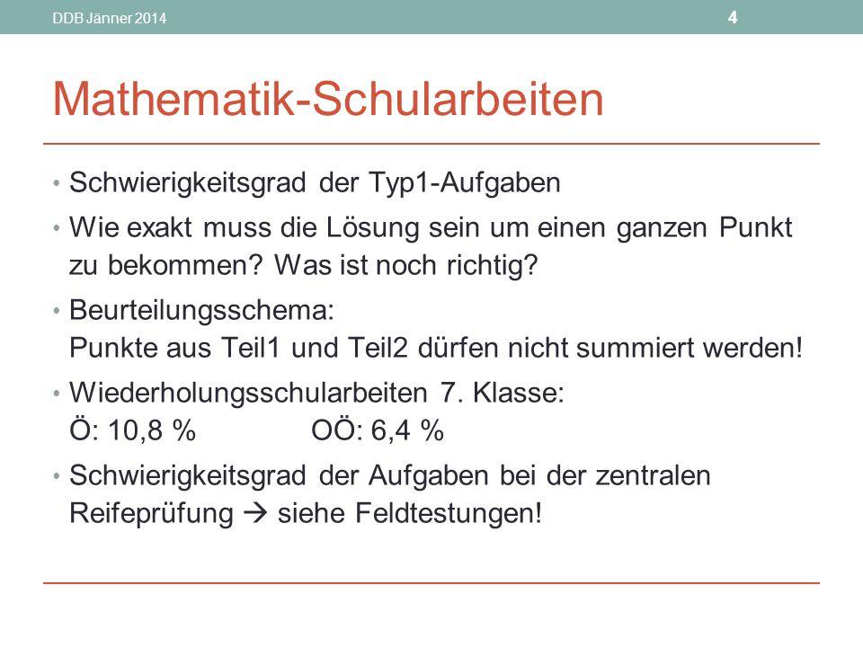 DDB Jänner 2014 4 Mathematik-Schularbeiten Schwierigkeitsgrad der Typ1-Aufgaben Wie exakt muss die Lösung sein um einen ganzen Punkt zu bekommen.