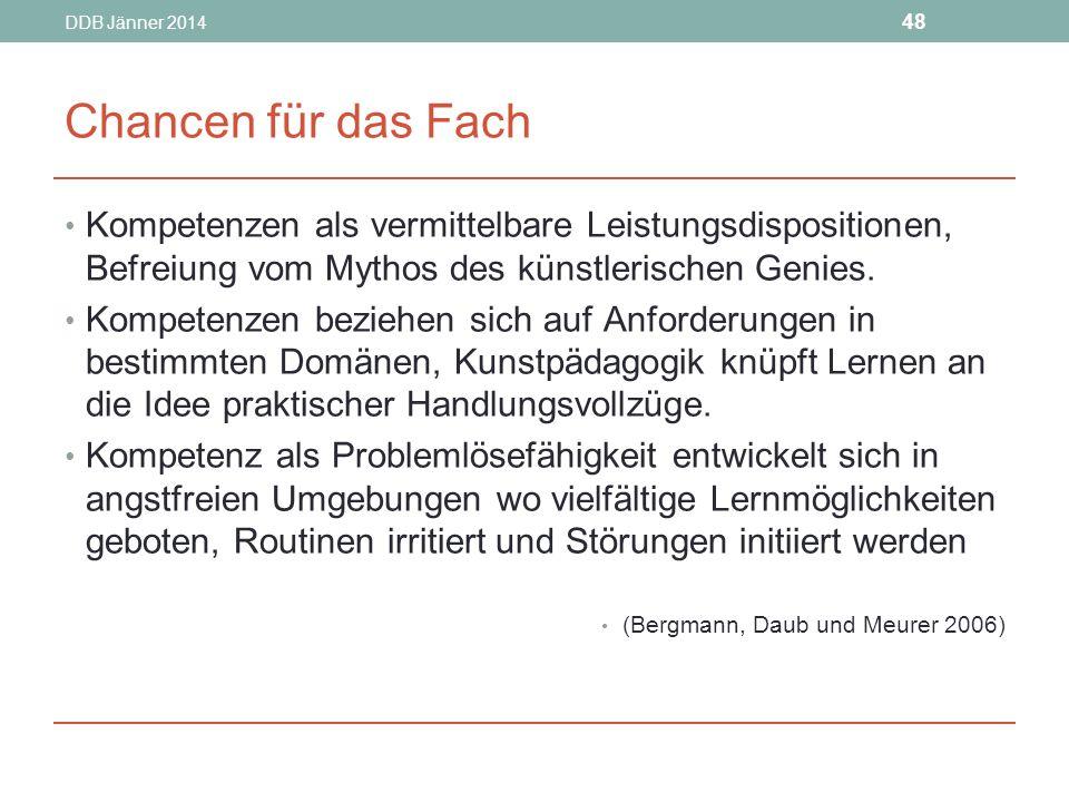 DDB Jänner 2014 48 Chancen für das Fach Kompetenzen als vermittelbare Leistungsdispositionen, Befreiung vom Mythos des künstlerischen Genies.