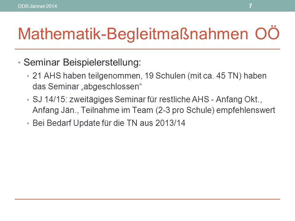 DDB Jänner 2014 7 Mathematik-Begleitmaßnahmen OÖ Seminar Beispielerstellung: 21 AHS haben teilgenommen, 19 Schulen (mit ca.