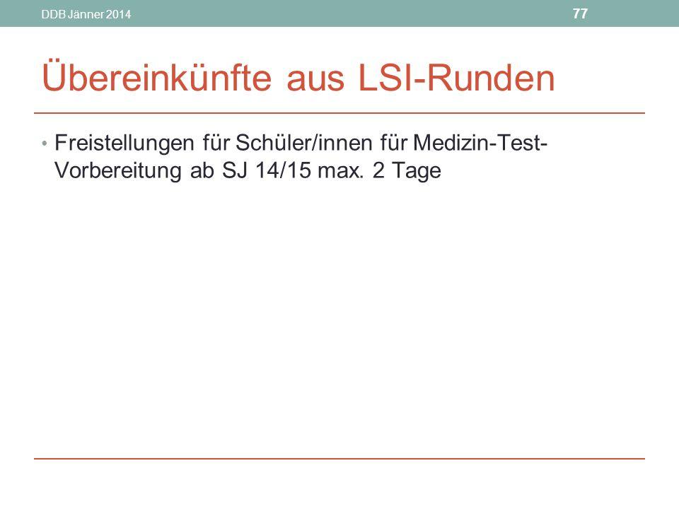 DDB Jänner 2014 77 Übereinkünfte aus LSI-Runden Freistellungen für Schüler/innen für Medizin-Test- Vorbereitung ab SJ 14/15 max.