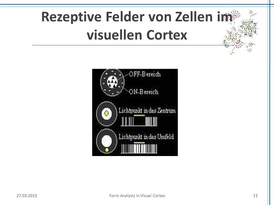 Rezeptive Felder von Zellen im visuellen Cortex 27.03.2015Form Analysis in Visual Cortex11