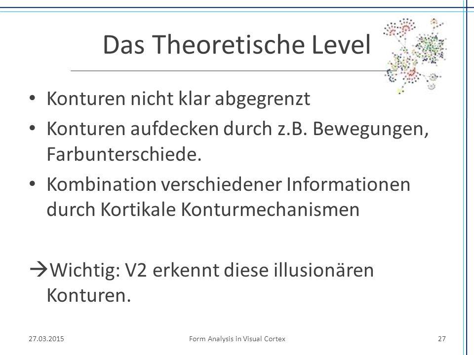 Das Theoretische Level Konturen nicht klar abgegrenzt Konturen aufdecken durch z.B. Bewegungen, Farbunterschiede. Kombination verschiedener Informatio