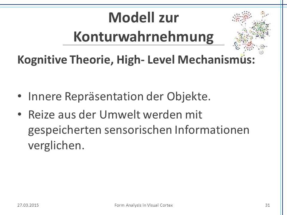 Modell zur Konturwahrnehmung Kognitive Theorie, High- Level Mechanismus: Innere Repräsentation der Objekte. Reize aus der Umwelt werden mit gespeicher