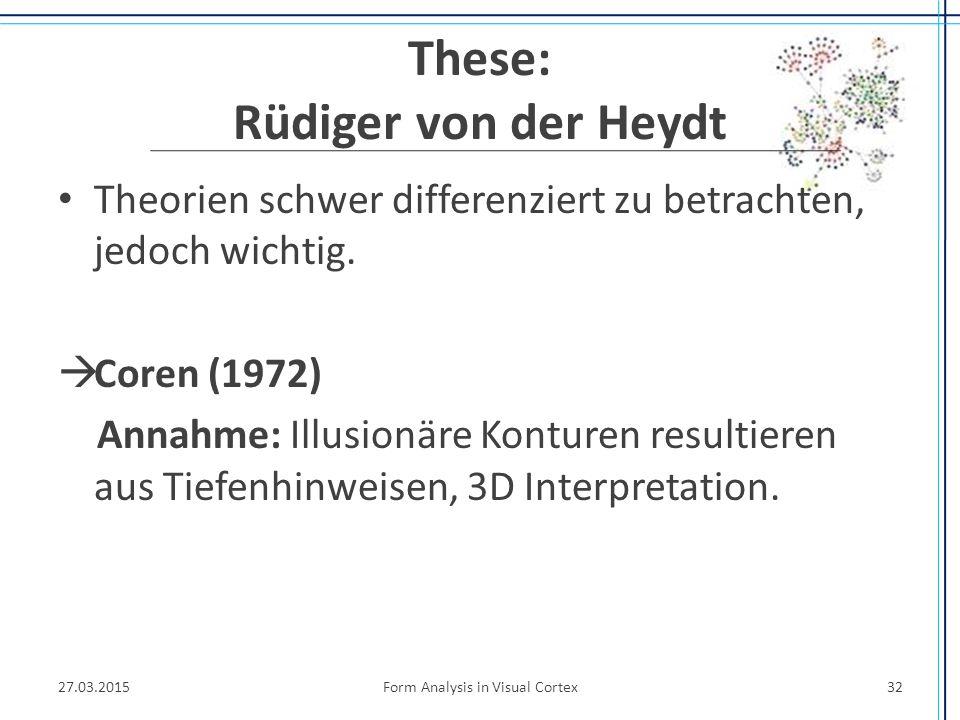 These: Rüdiger von der Heydt Theorien schwer differenziert zu betrachten, jedoch wichtig.  Coren (1972) Annahme: Illusionäre Konturen resultieren aus
