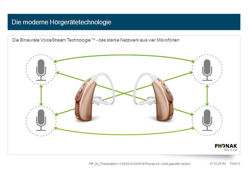 Die moderne Hörgerätetechnologie Die Binaurale VoiceStream Technologie™ - das starke Netzwerk aus vier Mikrofonen 27.03.2015Folie 18 PIP_HL_Presentati