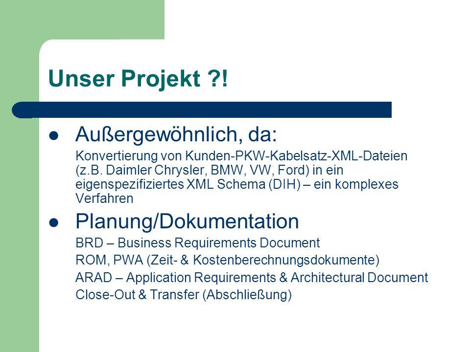 Unser Projekt ?! Außergewöhnlich, da: Konvertierung von Kunden-PKW-Kabelsatz-XML-Dateien (z.B. Daimler Chrysler, BMW, VW, Ford) in ein eigenspezifizie