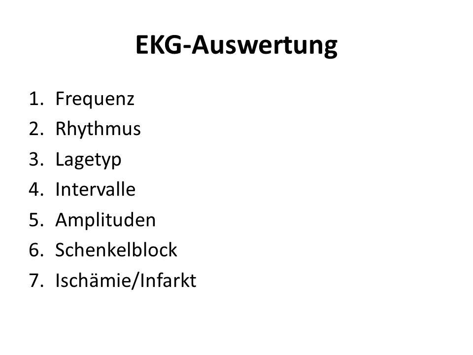 EKG-Auswertung 1.Frequenz 2.Rhythmus 3.Lagetyp 4.Intervalle 5.Amplituden 6.Schenkelblock 7.Ischämie/Infarkt