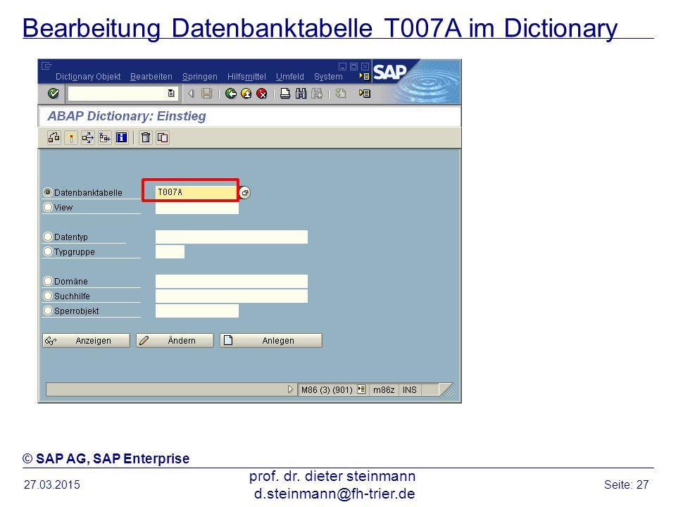 Bearbeitung Datenbanktabelle T007A im Dictionary 27.03.2015 prof. dr. dieter steinmann d.steinmann@fh-trier.de Seite: 27 © SAP AG, SAP Enterprise