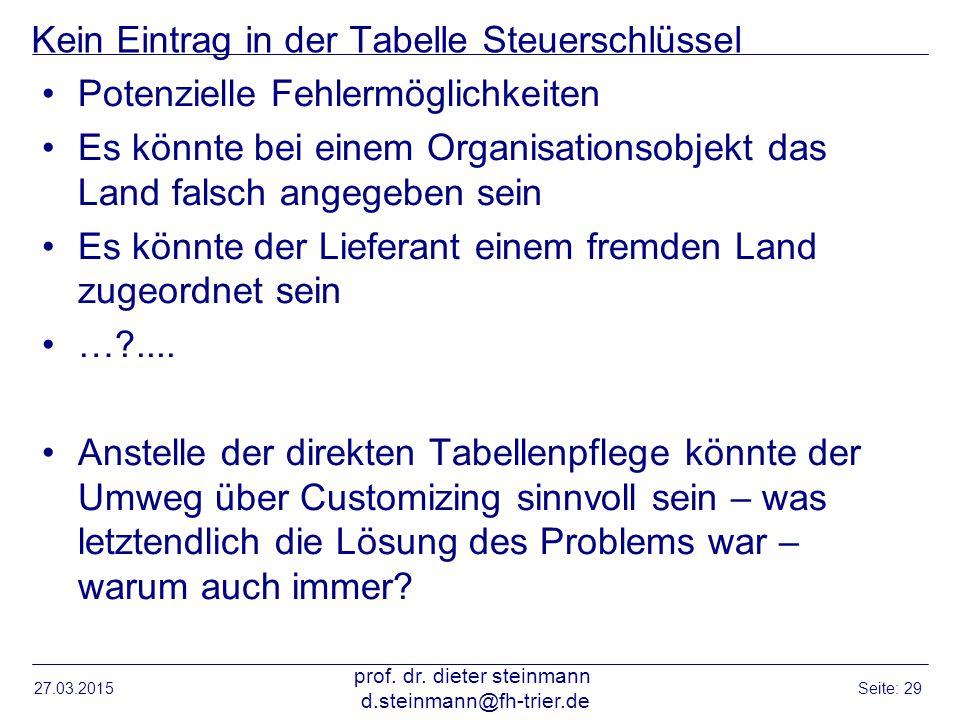 Kein Eintrag in der Tabelle Steuerschlüssel Potenzielle Fehlermöglichkeiten Es könnte bei einem Organisationsobjekt das Land falsch angegeben sein Es