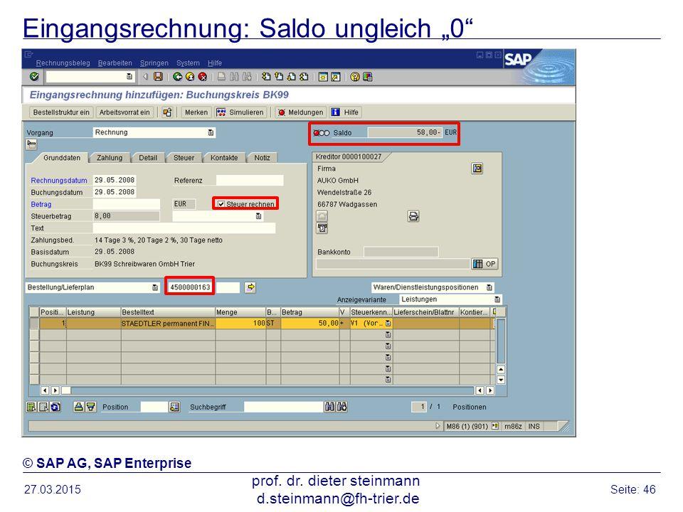 """Eingangsrechnung: Saldo ungleich """"0"""" 27.03.2015 prof. dr. dieter steinmann d.steinmann@fh-trier.de Seite: 46 © SAP AG, SAP Enterprise"""