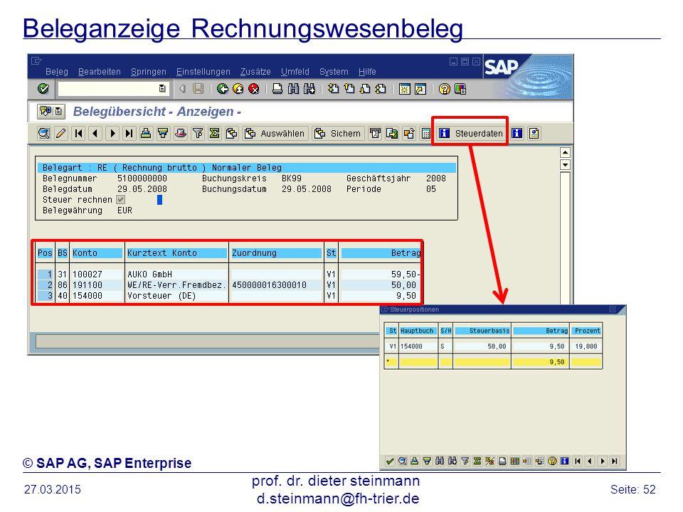 Beleganzeige Rechnungswesenbeleg 27.03.2015 prof. dr. dieter steinmann d.steinmann@fh-trier.de Seite: 52 © SAP AG, SAP Enterprise