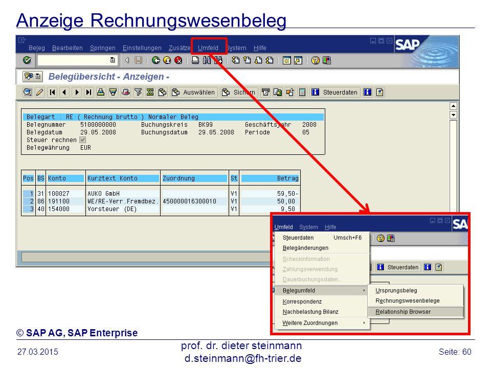 Anzeige Rechnungswesenbeleg 27.03.2015 prof. dr. dieter steinmann d.steinmann@fh-trier.de Seite: 60 © SAP AG, SAP Enterprise