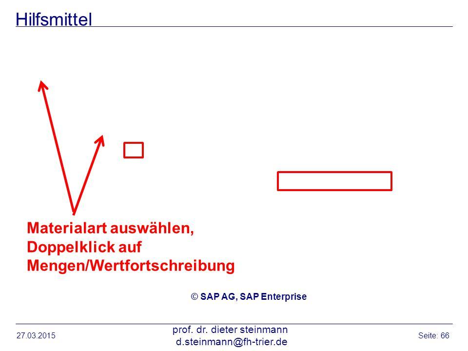 Hilfsmittel 27.03.2015 prof. dr. dieter steinmann d.steinmann@fh-trier.de Seite: 66 © SAP AG, SAP Enterprise Materialart auswählen, Doppelklick auf Me