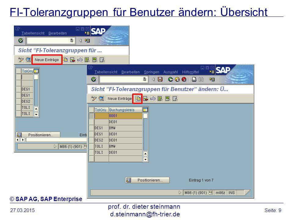 FI-Toleranzgruppen für Benutzer ändern: Übersicht 27.03.2015 prof. dr. dieter steinmann d.steinmann@fh-trier.de Seite: 9 © SAP AG, SAP Enterprise
