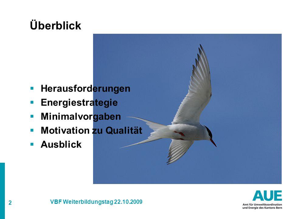 2 VBF Weiterbildungstag 22.10.2009 Überblick  Herausforderungen  Energiestrategie  Minimalvorgaben  Motivation zu Qualität  Ausblick