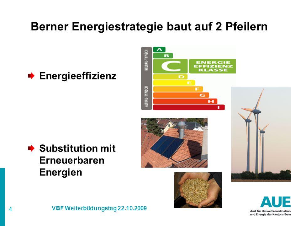 4 VBF Weiterbildungstag 22.10.2009 Berner Energiestrategie baut auf 2 Pfeilern Energieeffizienz Substitution mit Erneuerbaren Energien