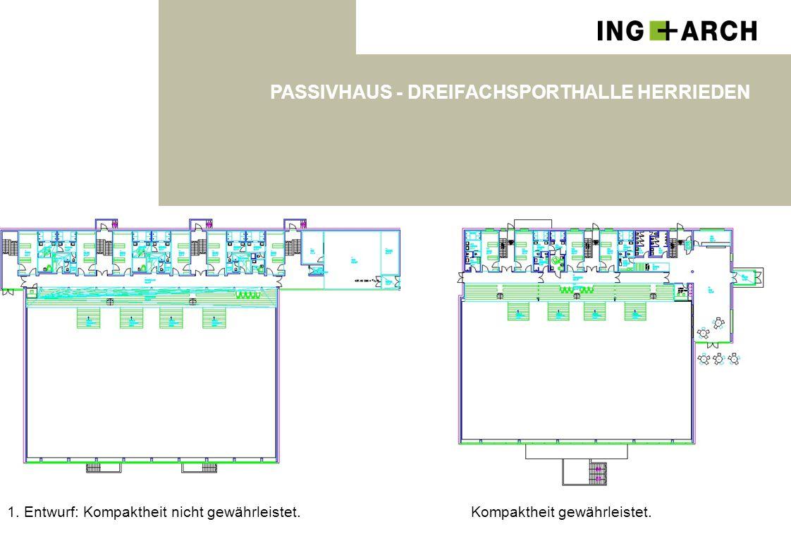 1. Entwurf: Kompaktheit nicht gewährleistet. PASSIVHAUS - DREIFACHSPORTHALLE HERRIEDEN Kompaktheit gewährleistet.