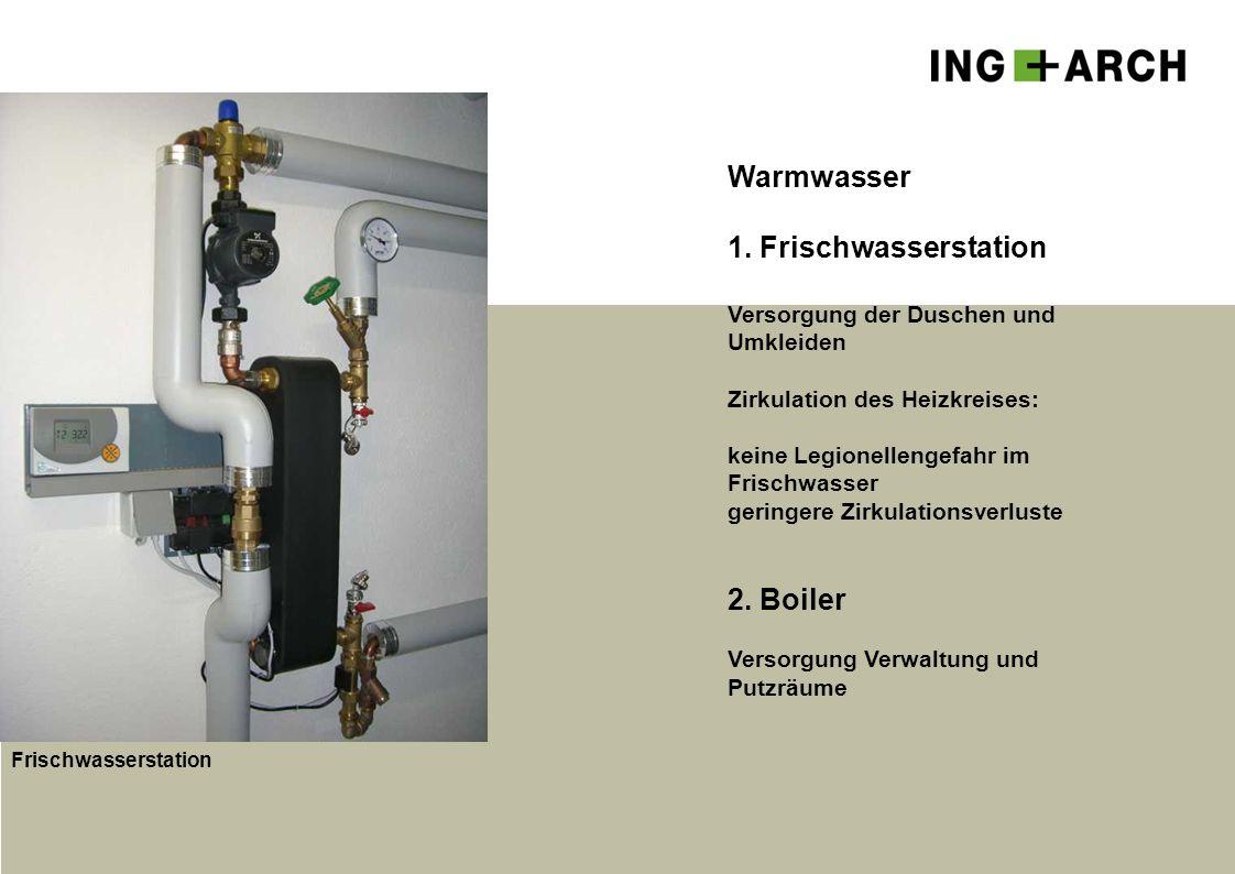 Warmwasser 1. Frischwasserstation Versorgung der Duschen und Umkleiden Zirkulation des Heizkreises: keine Legionellengefahr im Frischwasser geringere