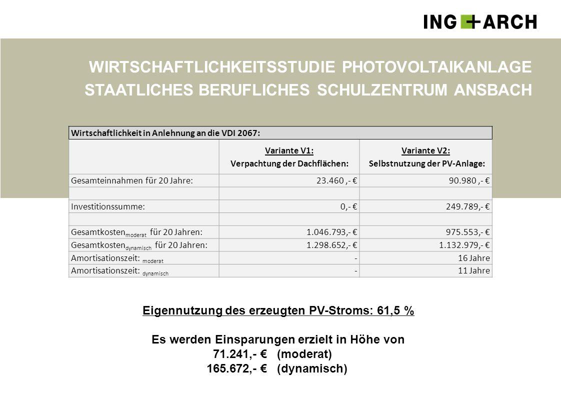 WIRTSCHAFTLICHKEITSSTUDIE PHOTOVOLTAIKANLAGE STAATLICHES BERUFLICHES SCHULZENTRUM ANSBACH Wirtschaftlichkeit in Anlehnung an die VDI 2067: Variante V1