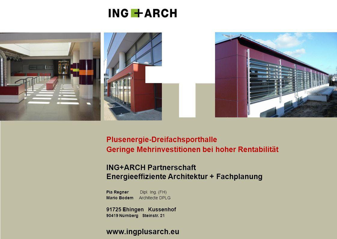 Plusenergie-Dreifachsporthalle Geringe Mehrinvestitionen bei hoher Rentabilität ING+ARCH Partnerschaft Energieeffiziente Architektur + Fachplanung Pia