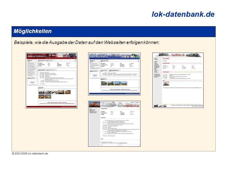 © 2004-2005 lok-datenbank.de lok-datenbank.de Möglichkeiten Beispiele, wie die Ausgabe der Daten auf den Webseiten erfolgen können: