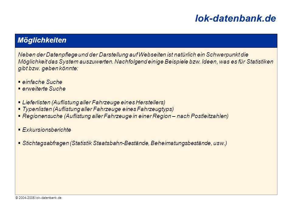 © 2004-2005 lok-datenbank.de lok-datenbank.de Möglichkeiten Neben der Datenpflege und der Darstellung auf Webseiten ist natürlich ein Schwerpunkt die Möglichkeit das System auszuwerten.