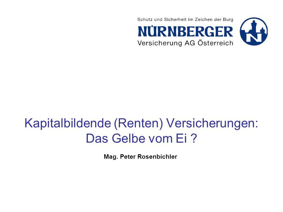 Kapitalbildende (Renten) Versicherungen: Das Gelbe vom Ei ? Mag. Peter Rosenbichler