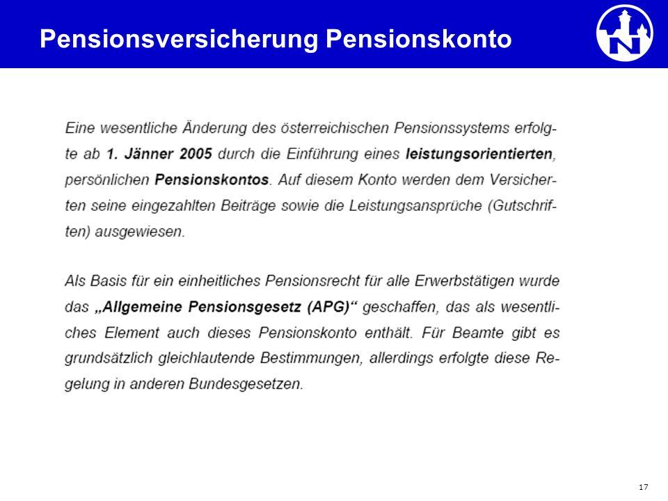 17 Pensionsversicherung Pensionskonto