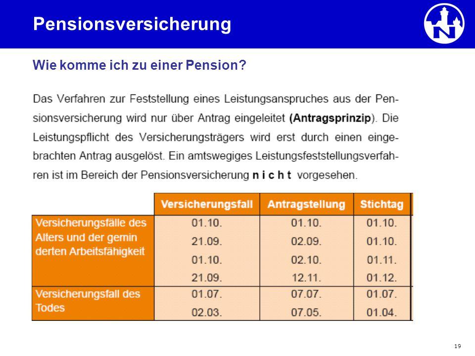 19 Pensionsversicherung Wie komme ich zu einer Pension?