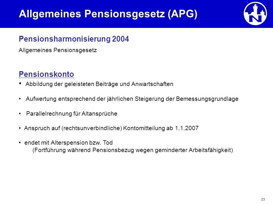 23 Allgemeines Pensionsgesetz (APG) Pensionsharmonisierung 2004 Allgemeines Pensionsgesetz Pensionskonto Abbildung der geleisteten Beiträge und Anwart