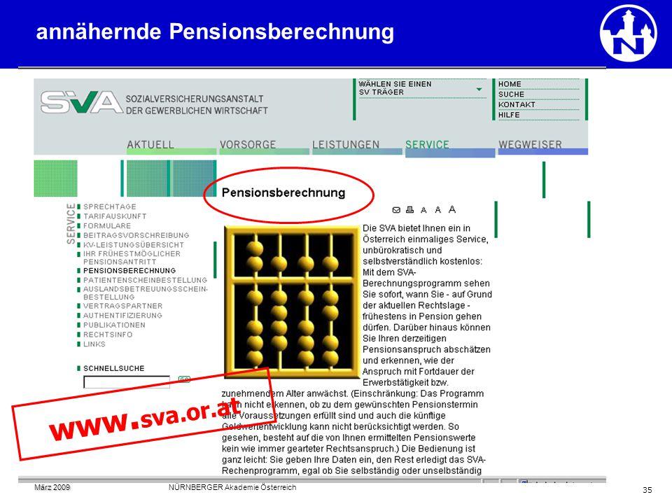 35 www. sva.or.at annähernde Pensionsberechnung März 2009 März 2009 NÜRNBERGER Akademie Österreich