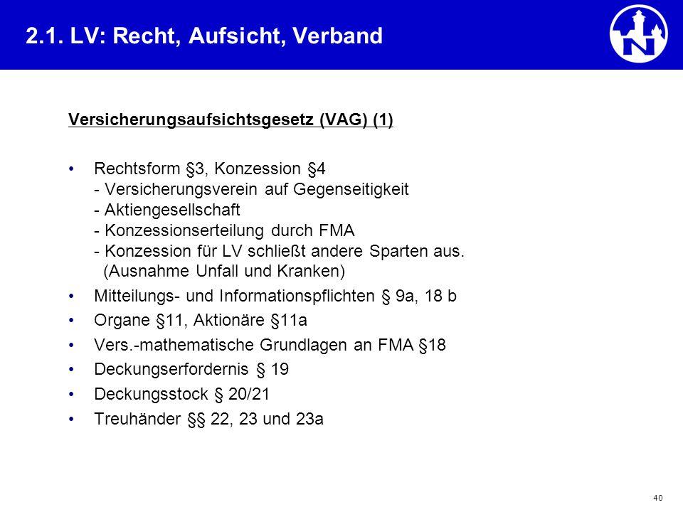 40 Versicherungsaufsichtsgesetz (VAG) (1) Rechtsform §3, Konzession §4 - Versicherungsverein auf Gegenseitigkeit - Aktiengesellschaft - Konzessionsert