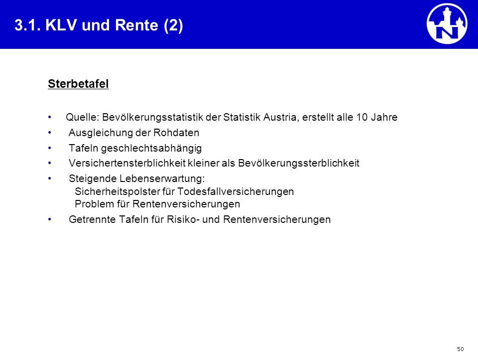 50 3.1. KLV und Rente (2) Sterbetafel Quelle: Bevölkerungsstatistik der Statistik Austria, erstellt alle 10 Jahre Ausgleichung der Rohdaten Tafeln ges