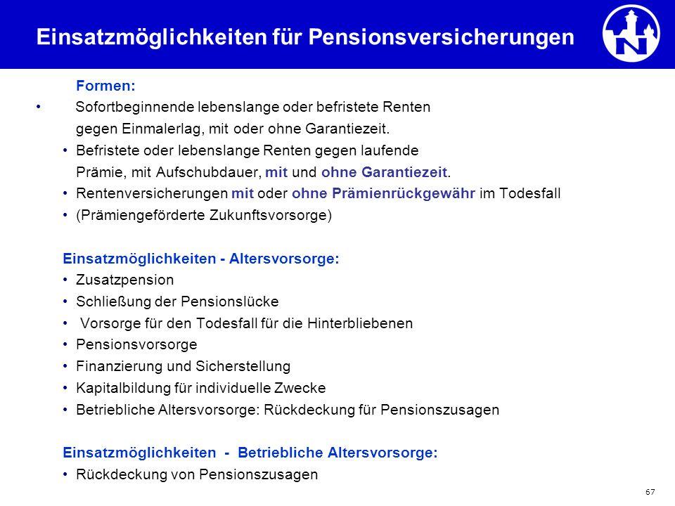 67 Formen: Sofortbeginnende lebenslange oder befristete Renten gegen Einmalerlag, mit oder ohne Garantiezeit. Befristete oder lebenslange Renten gegen