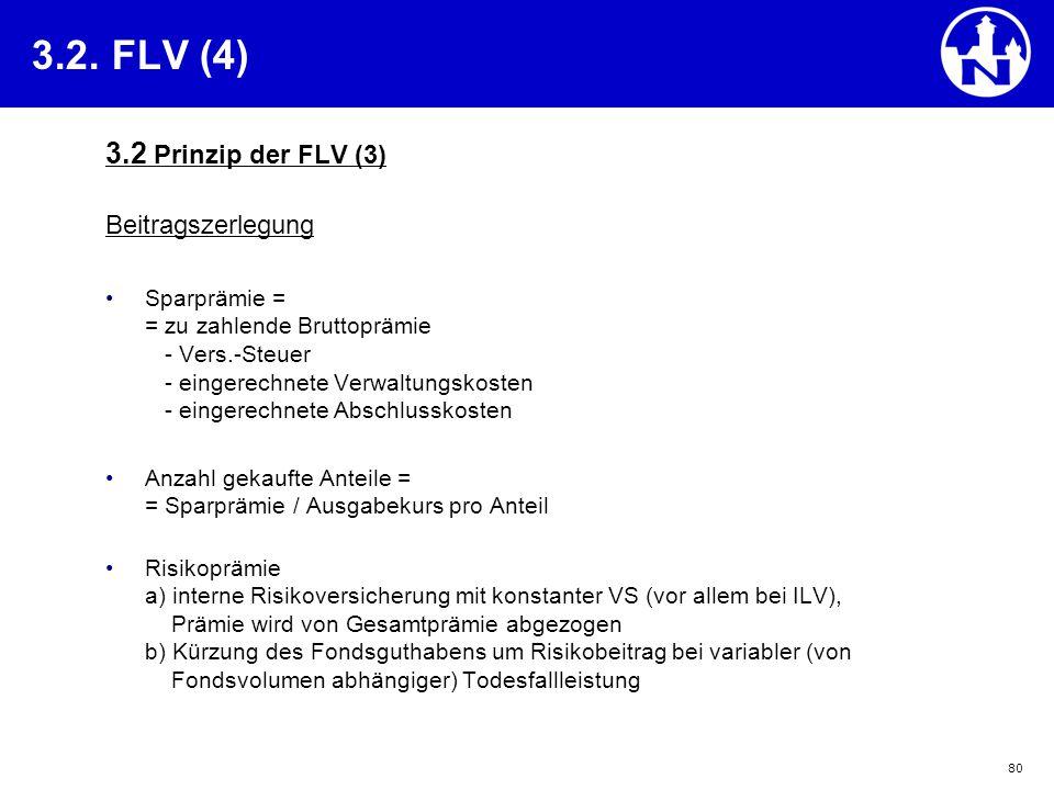 80 3.2. FLV (4) 3.2 Prinzip der FLV (3) Beitragszerlegung Sparprämie = = zu zahlende Bruttoprämie - Vers.-Steuer - eingerechnete Verwaltungskosten - e