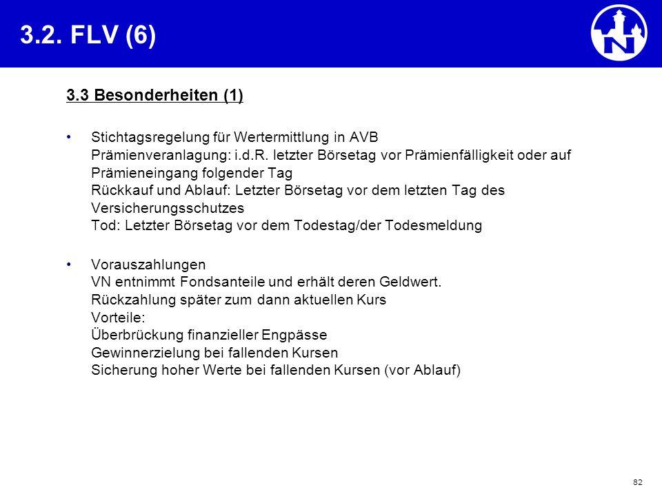 82 3.2. FLV (6) 3.3 Besonderheiten (1) Stichtagsregelung für Wertermittlung in AVB Prämienveranlagung: i.d.R. letzter Börsetag vor Prämienfälligkeit o