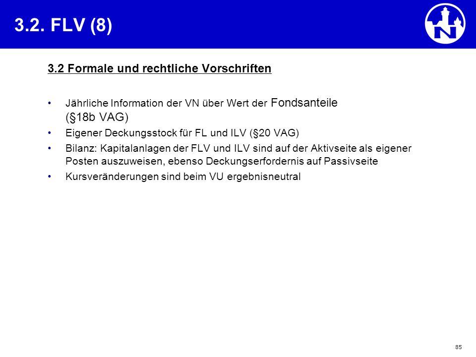 85 3.2. FLV (8) 3.2 Formale und rechtliche Vorschriften Jährliche Information der VN über Wert der Fondsanteile (§18b VAG) Eigener Deckungsstock für F