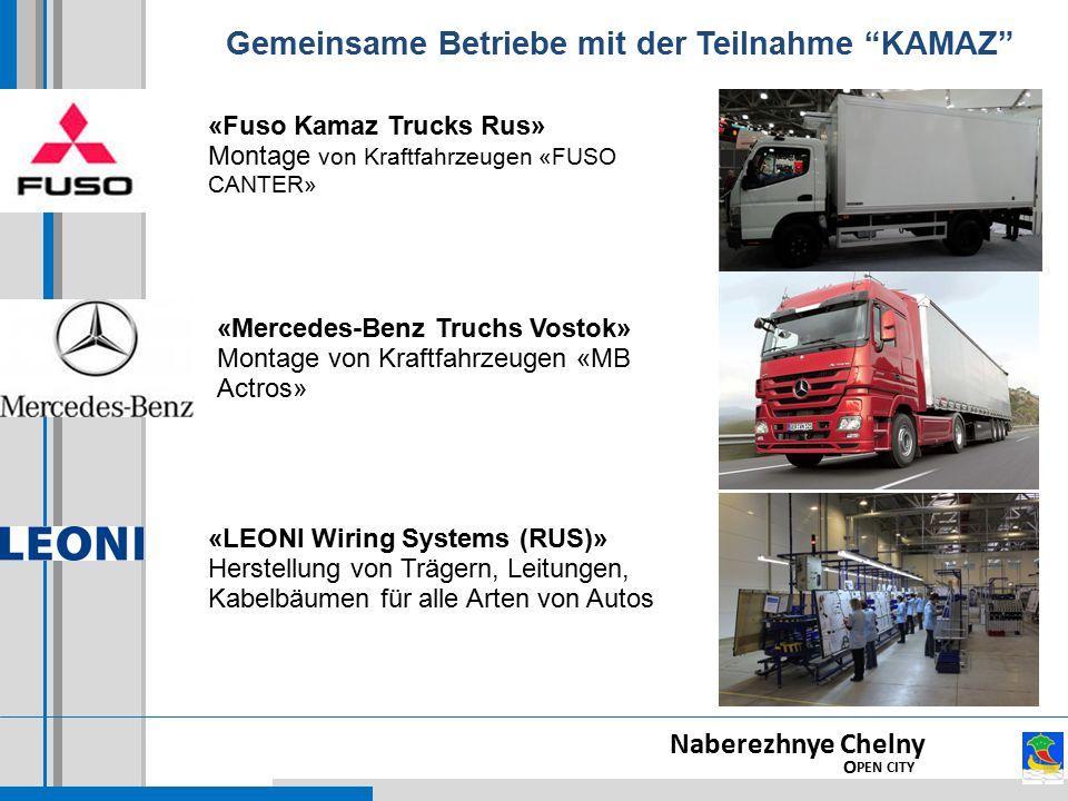 Naberezhnye Chelny O PEN CITY «Fuso Kamaz Trucks Rus» Montage von Kraftfahrzeugen «FUSO CANTER» «Mercedes-Benz Truchs Vostok» Montage von Kraftfahrzeugen «МВ Actros» «LEONI Wiring Systems (RUS)» Herstellung von Trägern, Leitungen, Kabelbäumen für alle Arten von Autos Gemeinsame Betriebe mit der Teilnahme KAMAZ