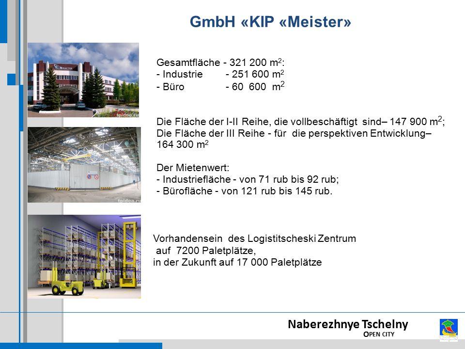 Gesamtfläche - 321 200 m 2 : - Industrie - 251 600 m 2 - Büro - 60 600 m 2 Die Fläche der I-II Reihe, die vollbeschäftigt sind– 147 900 m 2 ; Die Fläche der III Reihe - für die perspektiven Entwicklung– 164 300 m 2 Der Mietenwert: - Industriefläche - von 71 rub bis 92 rub; - Bürofläche - von 121 rub bis 145 rub.